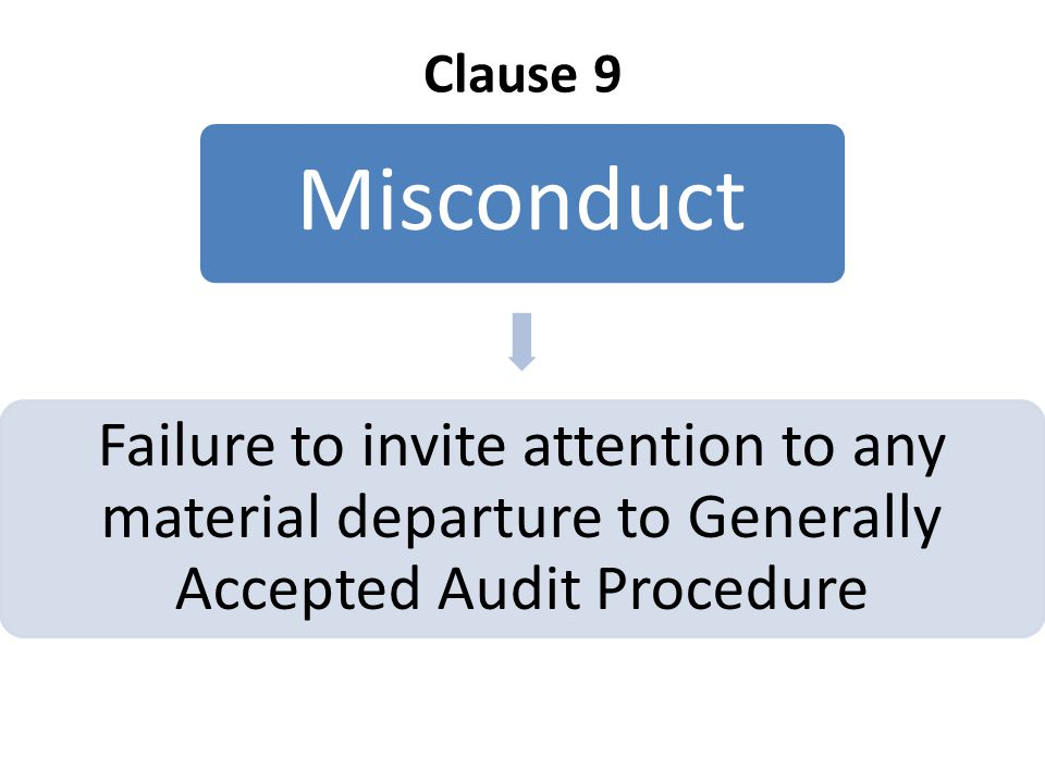 Clause 9 Misconduct Failure to invite attention to any material departure to Generally Accepted Audit Procedure