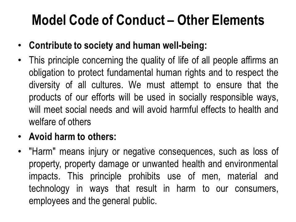 Model Code of Conduct – Other Elements Contribute to society and human well-being: This principle concerning the quality of life of all people affirms an obligation to protect fundamental human rights and to respect the diversity of all cultures.