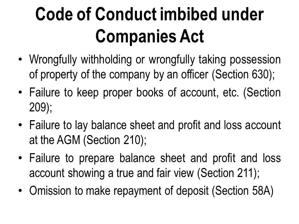 Code of Conduct imbibed under SEBI Act, 1992