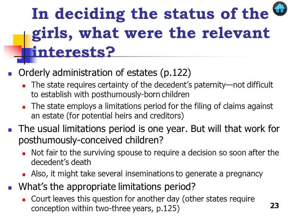In deciding the status of the girls, what were the relevant interests.