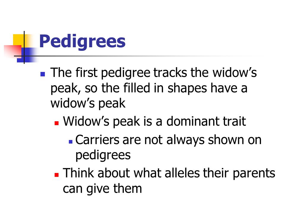 Pedigrees The first pedigree tracks the widow's peak, so the filled in shapes have a widow's peak Widow's peak is a dominant trait Carriers are not al