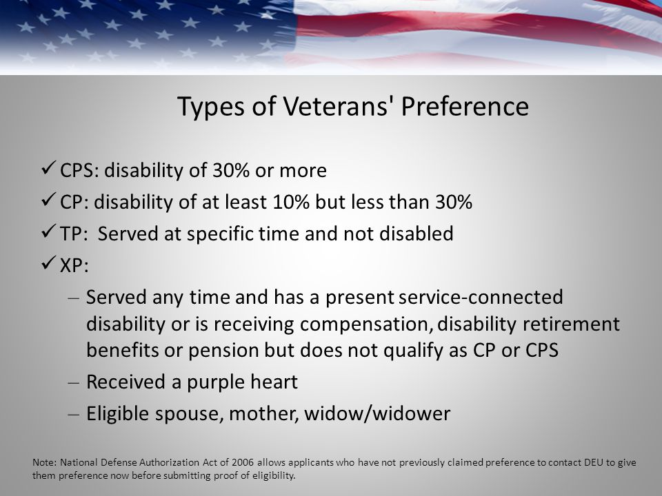 Types of Veterans Preference CPS: disability of 30% or more CP: disability of at least 10% but less than 30% TP: Served at specific time and not disabled XP: – Served any time and has a present service-connected disability or is receiving compensation, disability retirement benefits or pension but does not qualify as CP or CPS – Received a purple heart – Eligible spouse, mother, widow/widower Note: National Defense Authorization Act of 2006 allows applicants who have not previously claimed preference to contact DEU to give them preference now before submitting proof of eligibility.