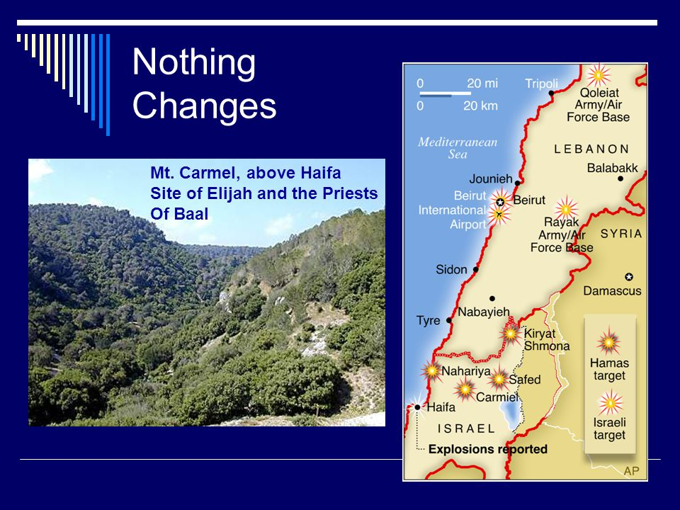 Nothing Changes Mt. Carmel, above Haifa Site of Elijah and the Priests Of Baal