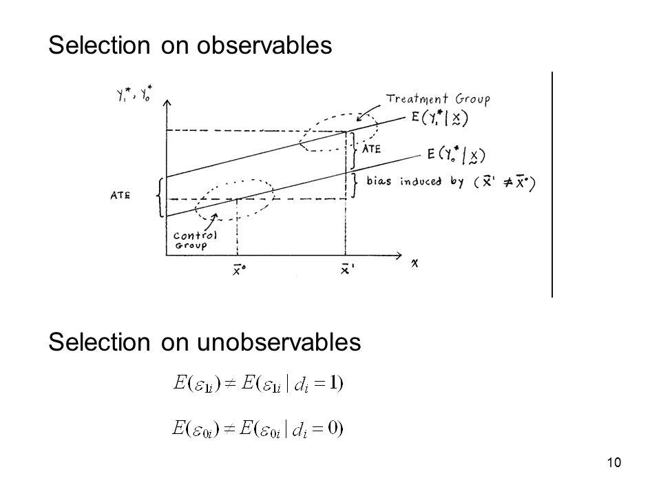 10 Selection on observables Selection on unobservables