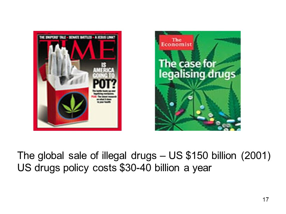 17 The global sale of illegal drugs – US $150 billion (2001) US drugs policy costs $30-40 billion a year