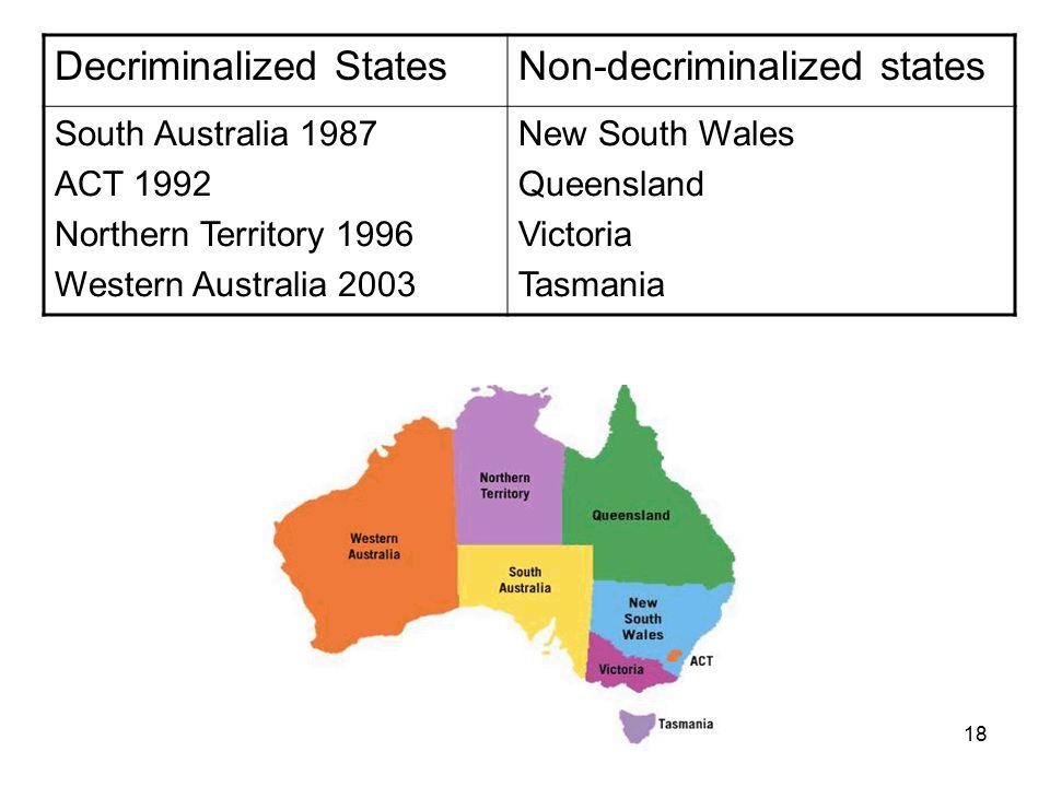 18 Decriminalized StatesNon-decriminalized states South Australia 1987 ACT 1992 Northern Territory 1996 Western Australia 2003 New South Wales Queensland Victoria Tasmania