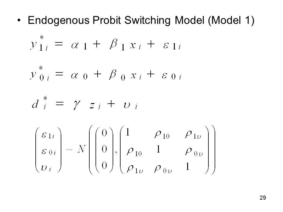 29 Endogenous Probit Switching Model (Model 1)
