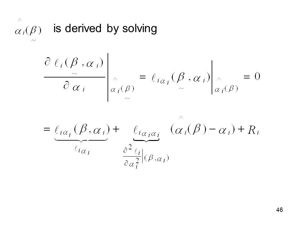 46 is derived by solving