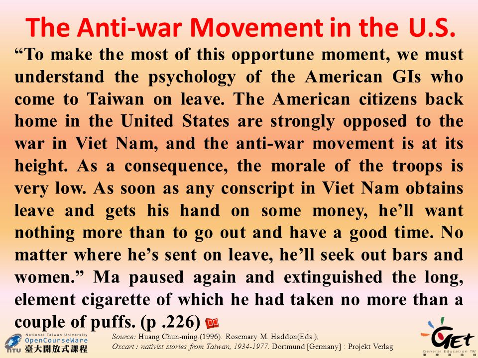 The Anti-war Movement in the U.S.