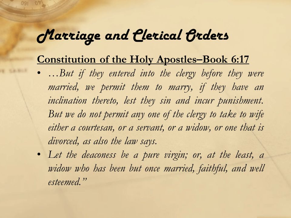 Marriage and Clerical Orders A reader or singer can marry again if he's a widower, but can not serve in the altar.