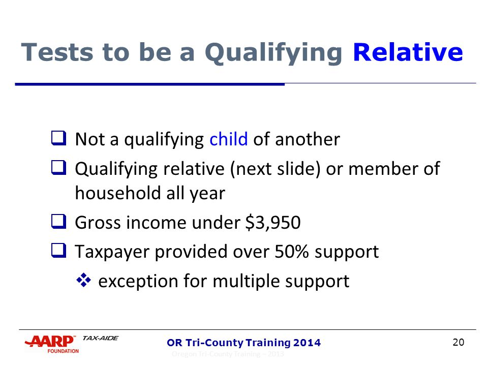 20 OR Tri-County Training 2014 Tests to be a Qualifying Relative  Not a qualifying child of another  Qualifying relative (next slide) or member of h