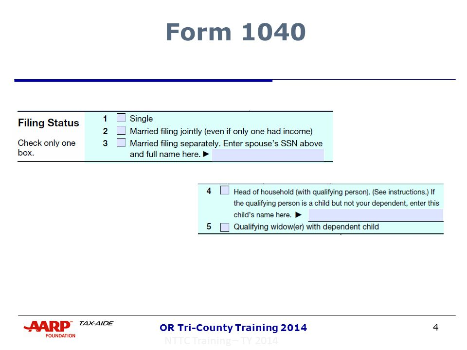 4 OR Tri-County Training 2014 Form 1040 NTTC Training – TY 2014