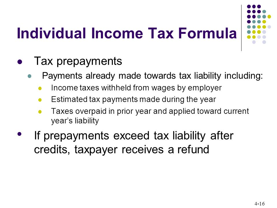4-16 Individual Income Tax Formula Tax prepayments Payments already made towards tax liability including: Income taxes withheld from wages by employer Estimated tax payments made during the year Taxes overpaid in prior year and applied toward current year's liability If prepayments exceed tax liability after credits, taxpayer receives a refund
