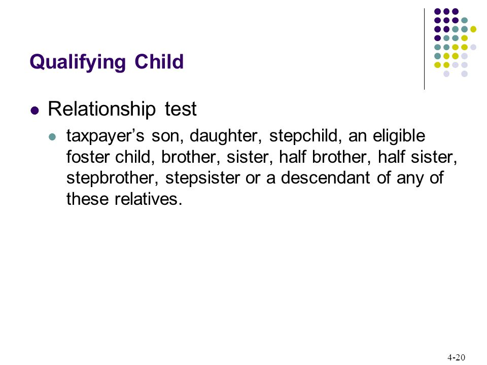 4-20 Qualifying Child Relationship test taxpayer's son, daughter, stepchild, an eligible foster child, brother, sister, half brother, half sister, stepbrother, stepsister or a descendant of any of these relatives.