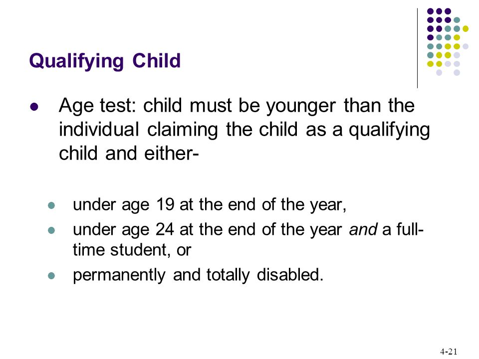 4-21 Qualifying Child Age test: child must be younger than the individual claiming the child as a qualifying child and either- under age 19 at the end of the year, under age 24 at the end of the year and a full- time student, or permanently and totally disabled.