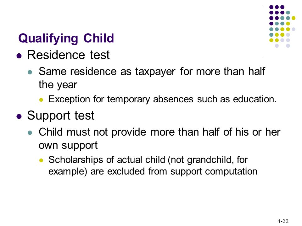 4-22 Qualifying Child Residence test Same residence as taxpayer for more than half the year Exception for temporary absences such as education.