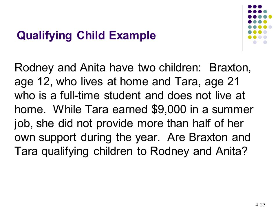4-23 Qualifying Child Example Rodney and Anita have two children: Braxton, age 12, who lives at home and Tara, age 21 who is a full-time student and does not live at home.