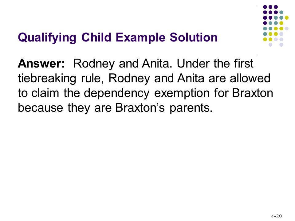 4-29 Qualifying Child Example Solution Answer: Rodney and Anita.