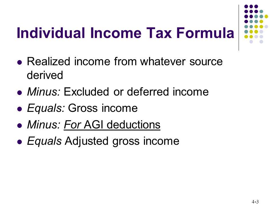 4-14 Individual Income Tax Formula Tax calculation The U.S.