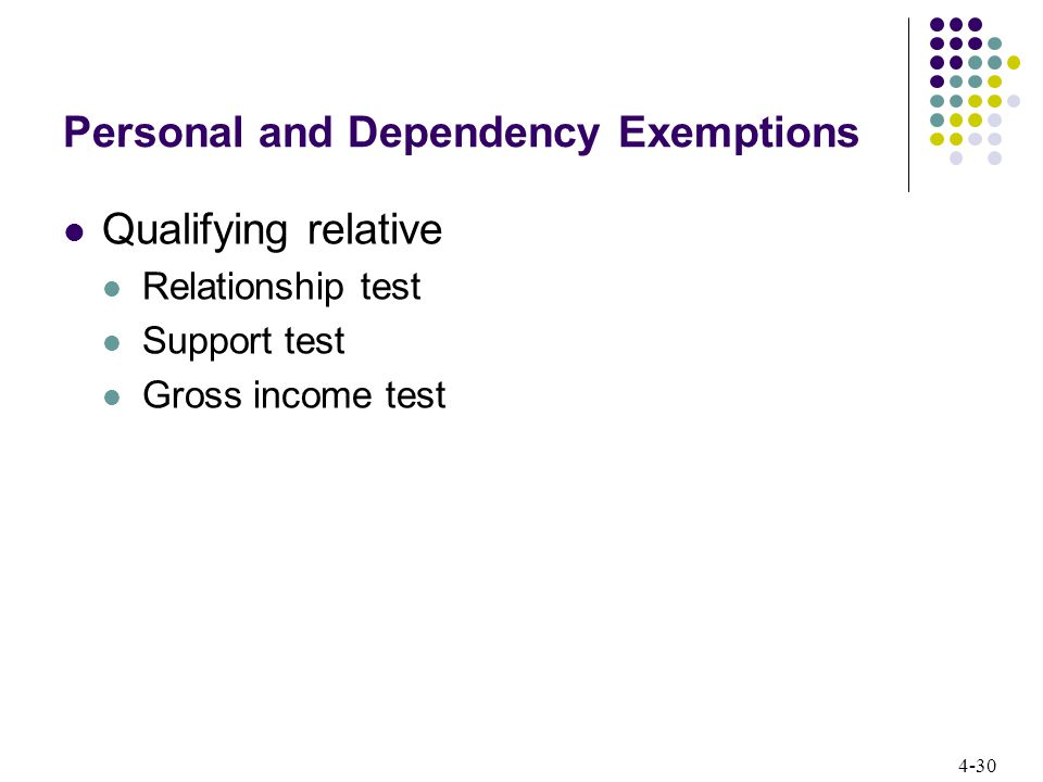 4-30 Personal and Dependency Exemptions Qualifying relative Relationship test Support test Gross income test