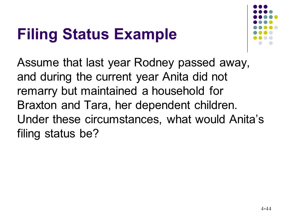 4-44 Filing Status Example Assume that last year Rodney passed away, and during the current year Anita did not remarry but maintained a household for Braxton and Tara, her dependent children.