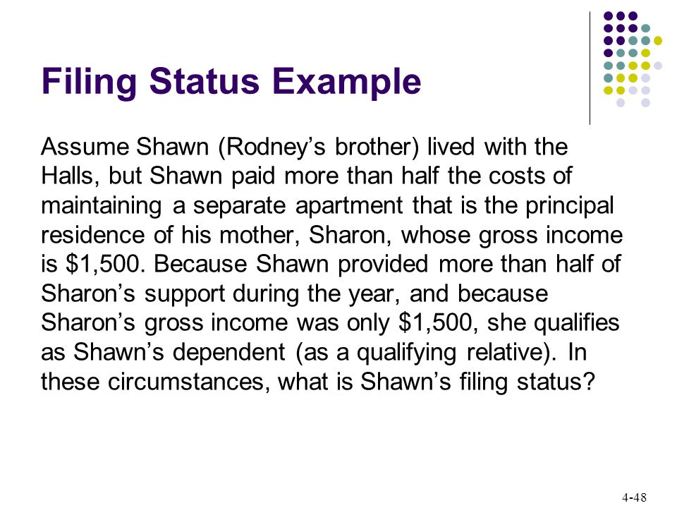 4-48 Filing Status Example Assume Shawn (Rodney's brother) lived with the Halls, but Shawn paid more than half the costs of maintaining a separate apartment that is the principal residence of his mother, Sharon, whose gross income is $1,500.