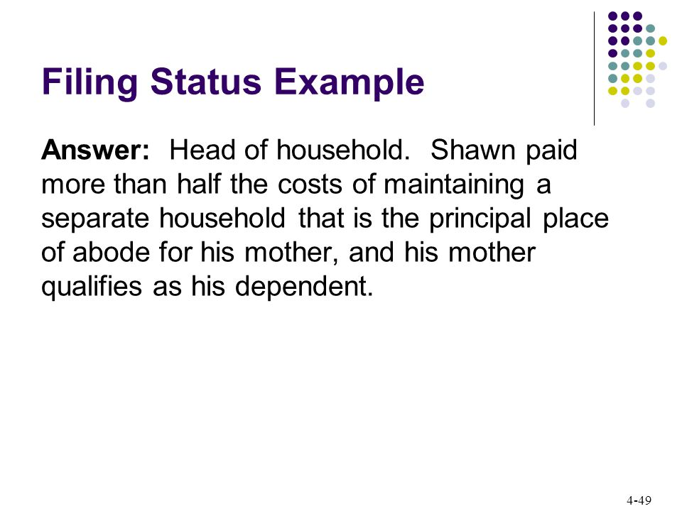 4-49 Filing Status Example Answer: Head of household.