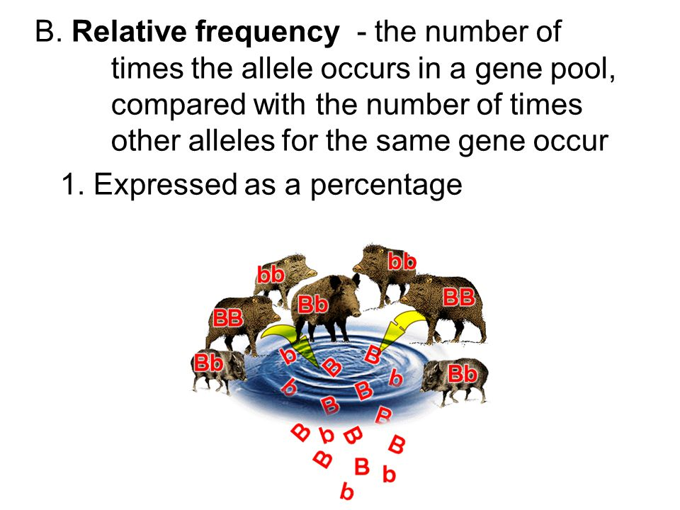 B. Relative frequency - the number of times the allele occurs in a gene pool, compared with the number of times other alleles for the same gene occur