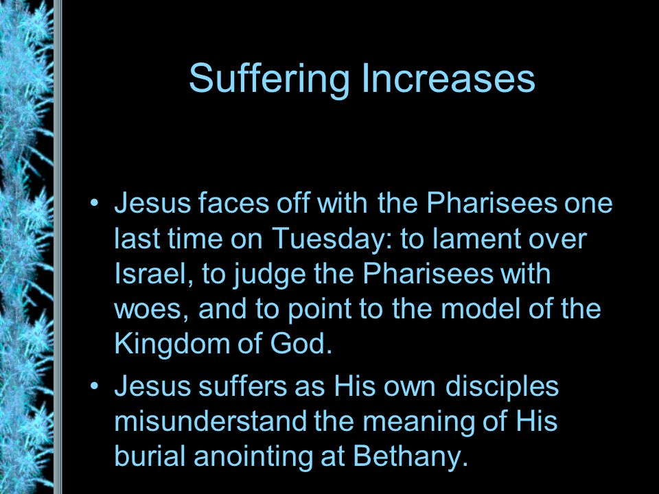 Events of the Day Woe to the Pharisees Lament Over Jerusalem The Widow's Mite Jesus Anointed at Bethany