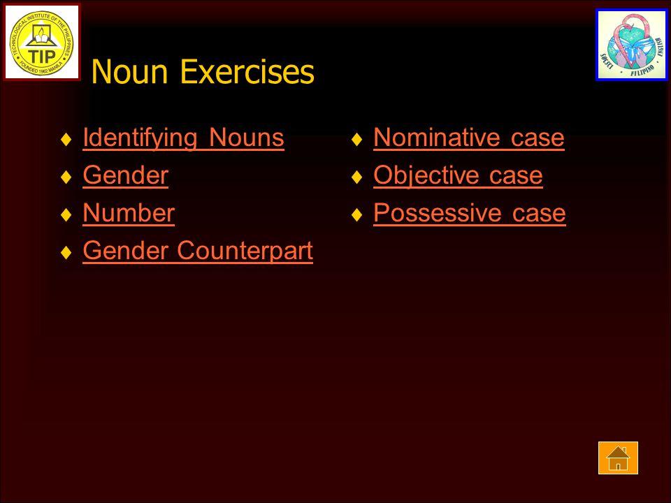 Noun Exercises  Identifying Nouns Identifying Nouns  Gender Gender  Number Number  Gender Counterpart Gender Counterpart  Nominative case Nominative case  Objective case Objective case  Possessive case Possessive case