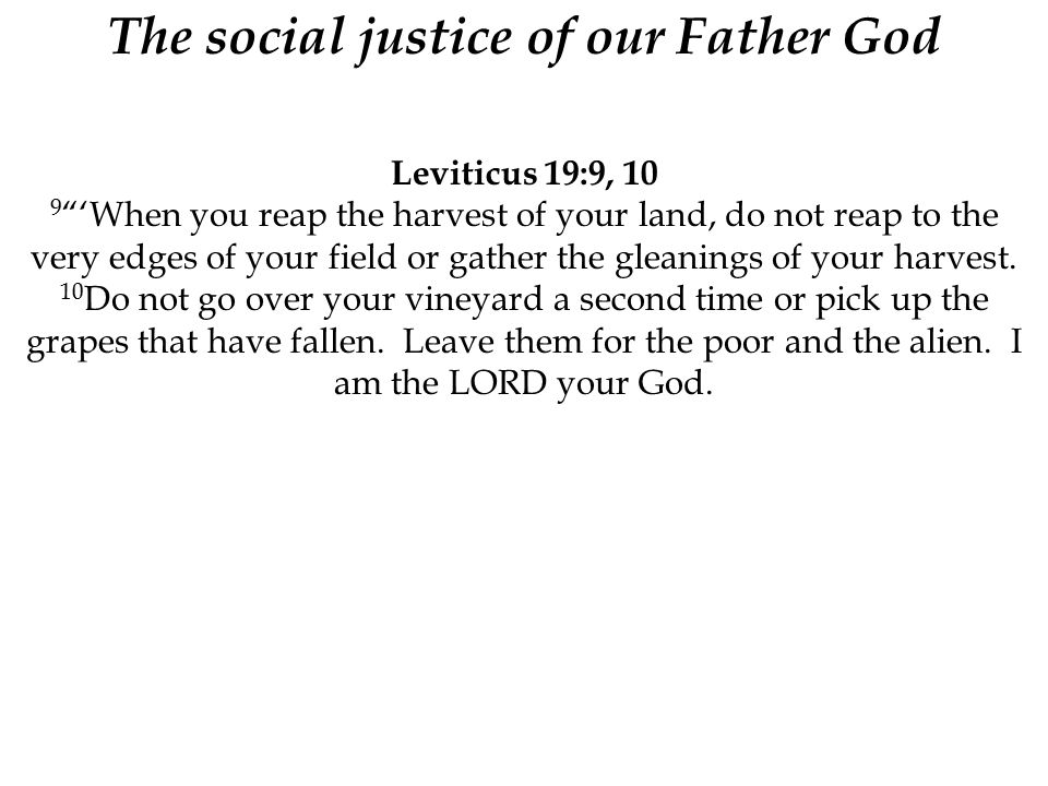 The social justice of our Father God Leviticus 19:9, 10 9 'When you reap the harvest of your land, do not reap to the very edges of your field or gather the gleanings of your harvest.