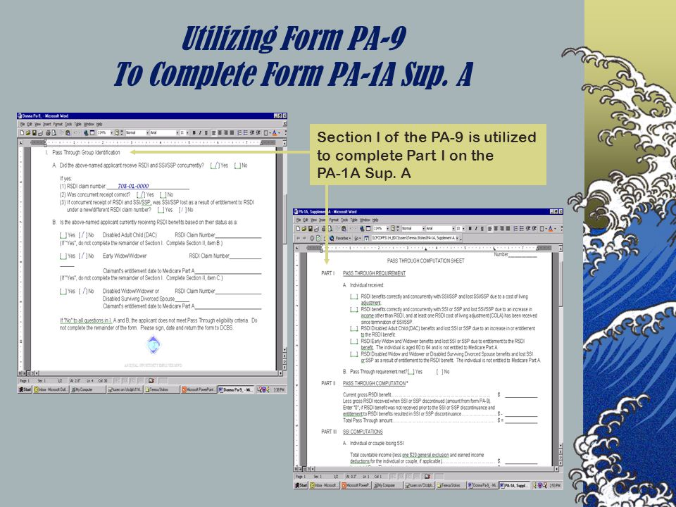 Utilizing Form PA-9 To Complete Form PA-1A Sup.