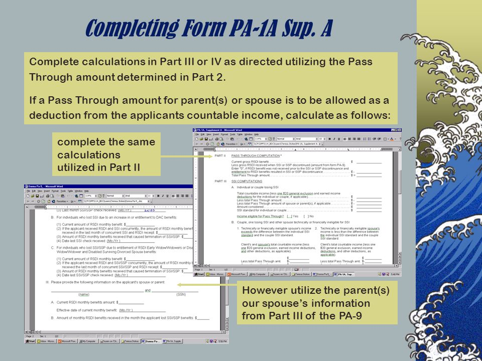 Completing Form PA-1A Sup.