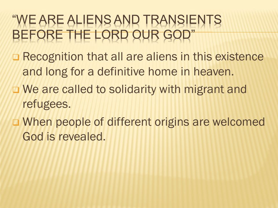  Recognition that all are aliens in this existence and long for a definitive home in heaven.  We are called to solidarity with migrant and refugees.