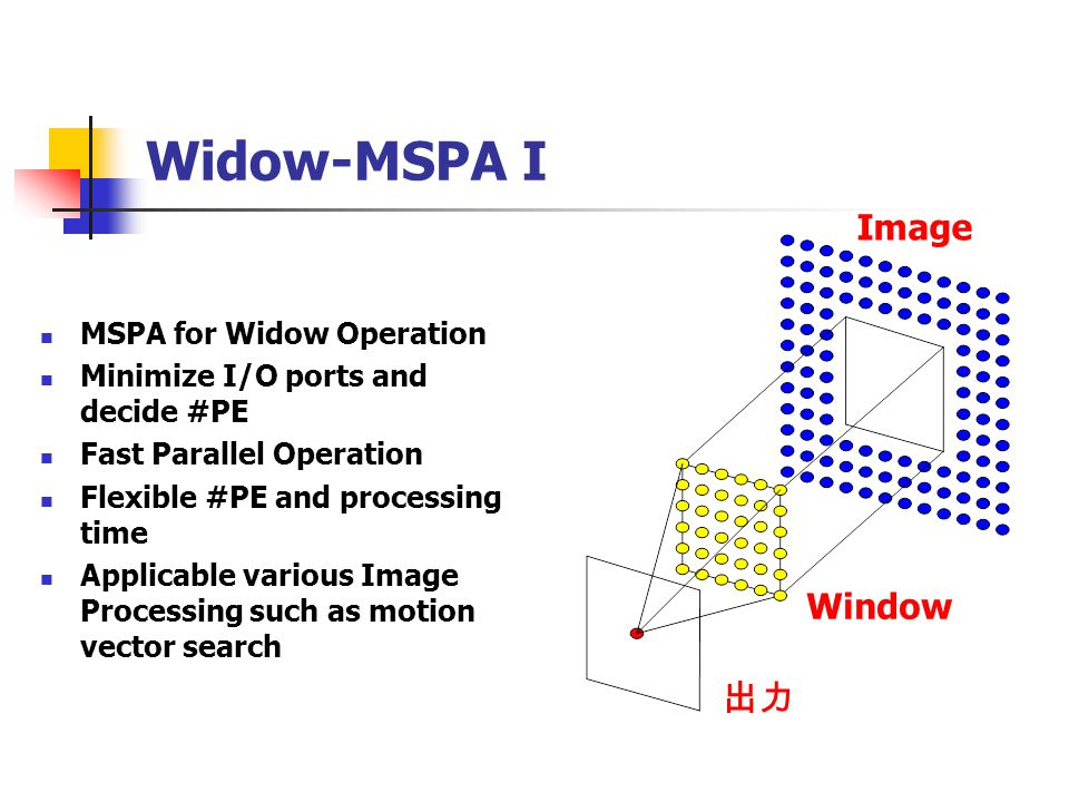 Widow-MSPA I MSPA for Widow Operation Minimize I/O ports and decide #PE Fast Parallel Operation Flexible #PE and processing time Applicable various Im