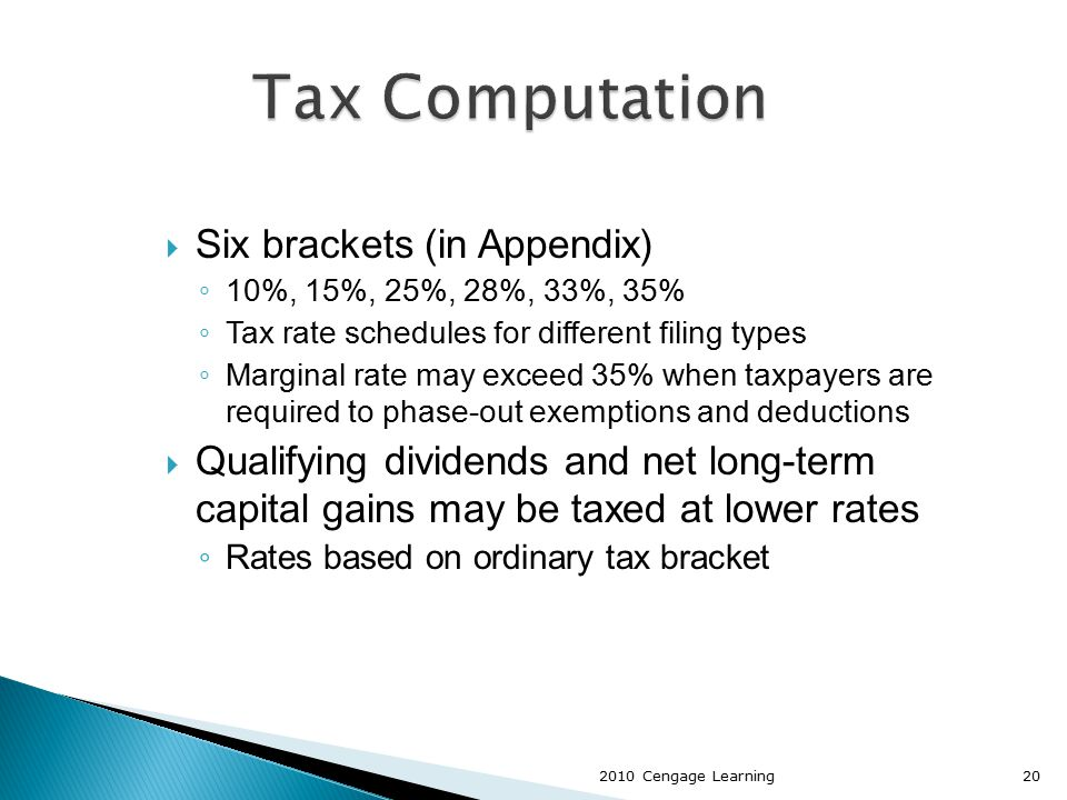  Six brackets (in Appendix) ◦ 10%, 15%, 25%, 28%, 33%, 35% ◦ Tax rate schedules for different filing types ◦ Marginal rate may exceed 35% when taxpay