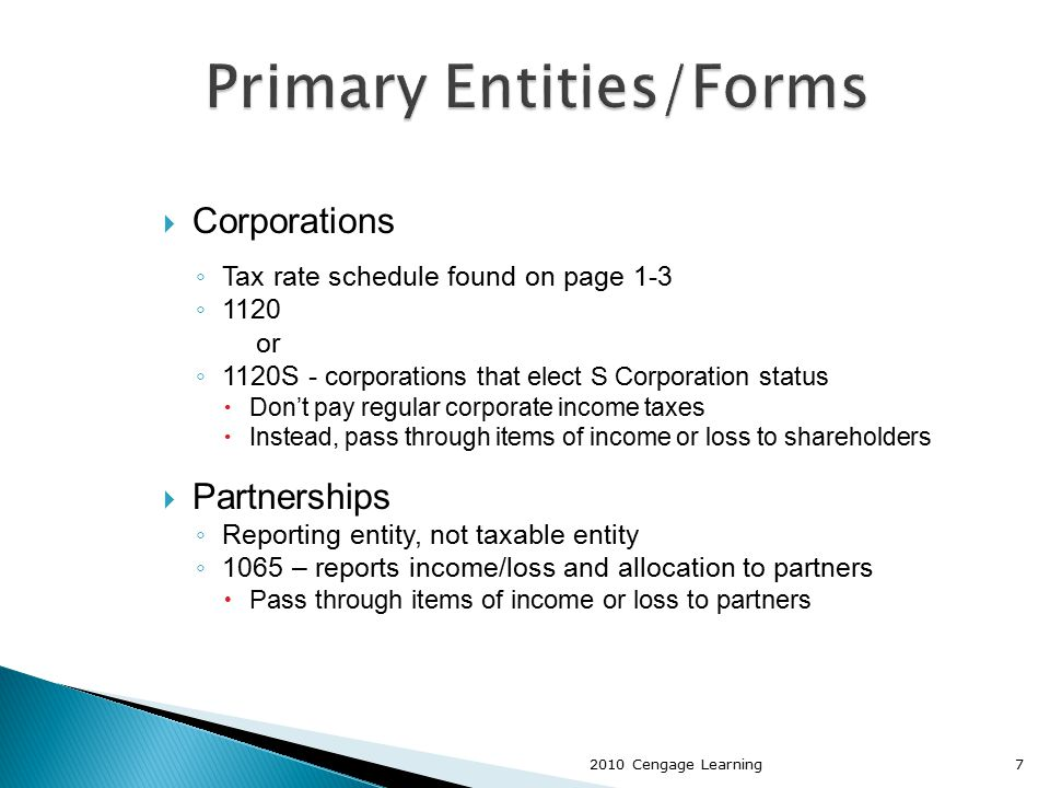  Corporations ◦ Tax rate schedule found on page 1-3 ◦ 1120 or ◦ 1120S - corporations that elect S Corporation status  Don't pay regular corporate in