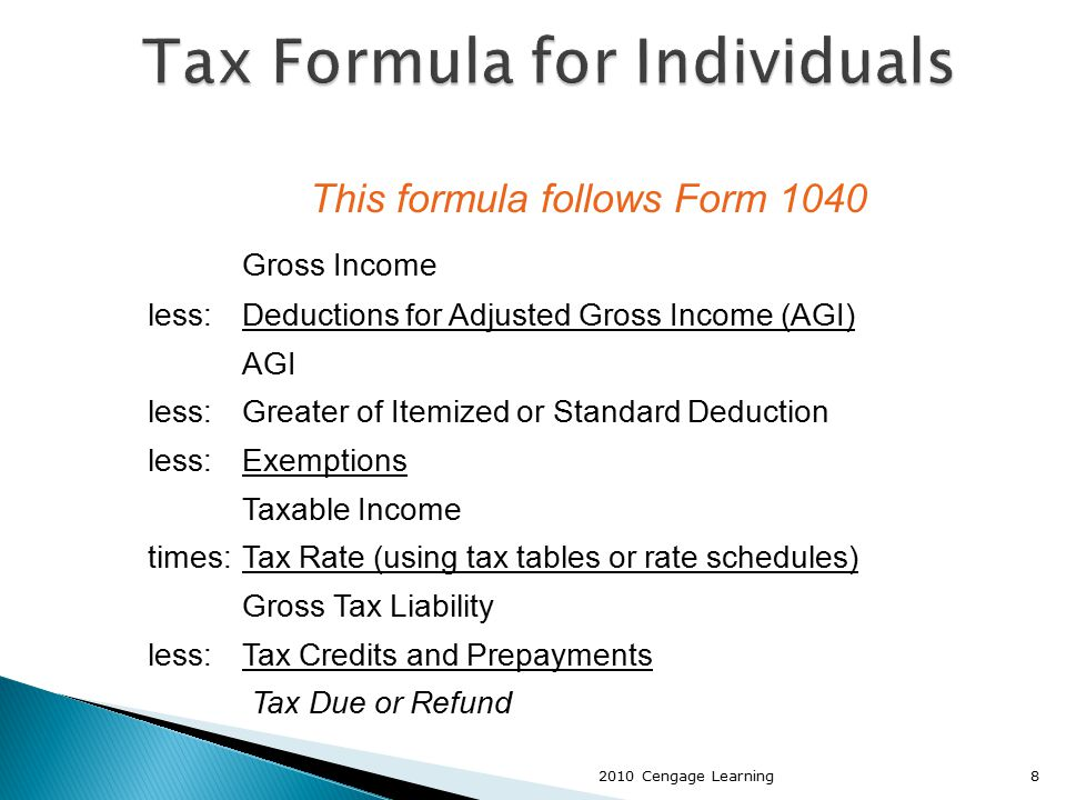 This formula follows Form 1040 Gross Income less:Deductions for Adjusted Gross Income (AGI) AGI less:Greater of Itemized or Standard Deduction less:Ex