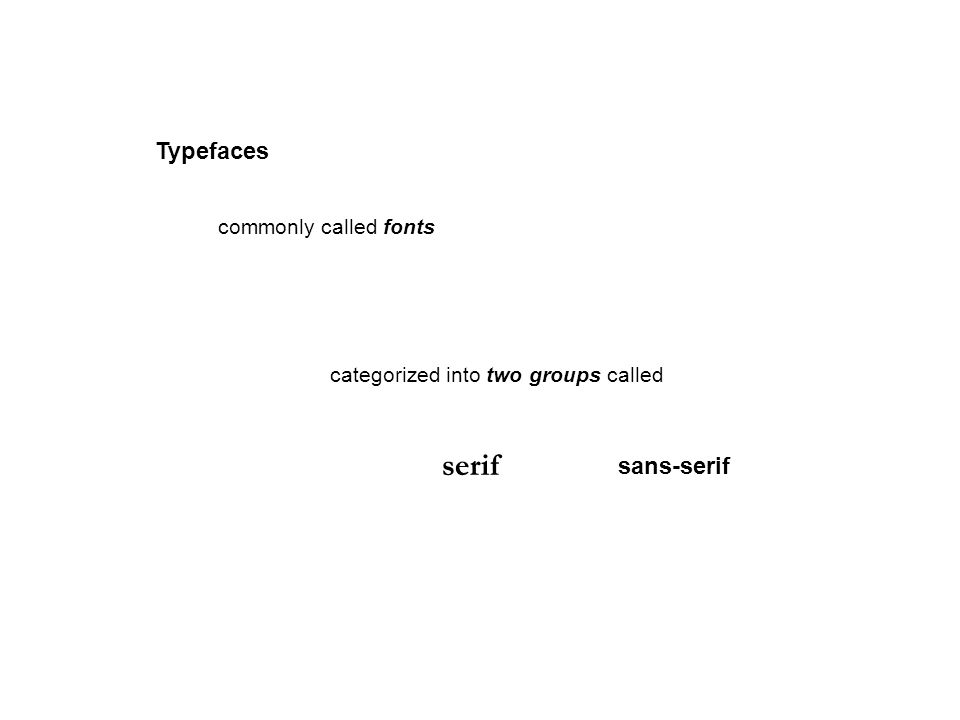 Typefaces commonly called fonts categorized into two groups called serif sans-serif