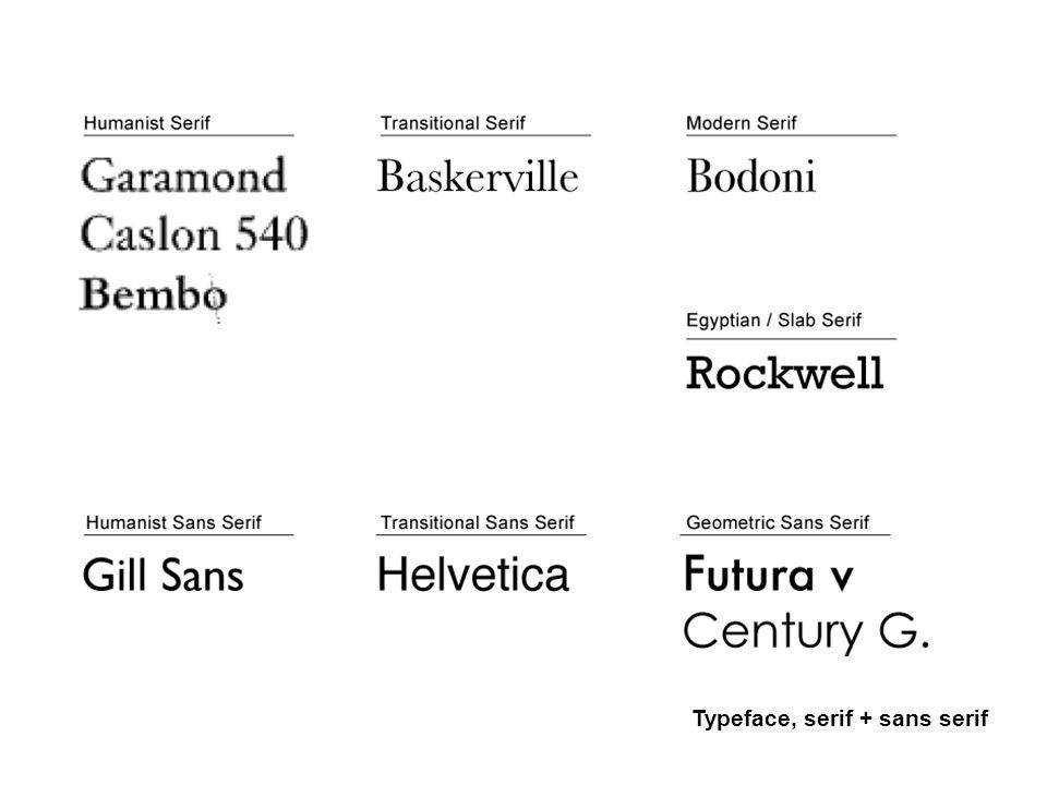 Typeface, serif + sans serif