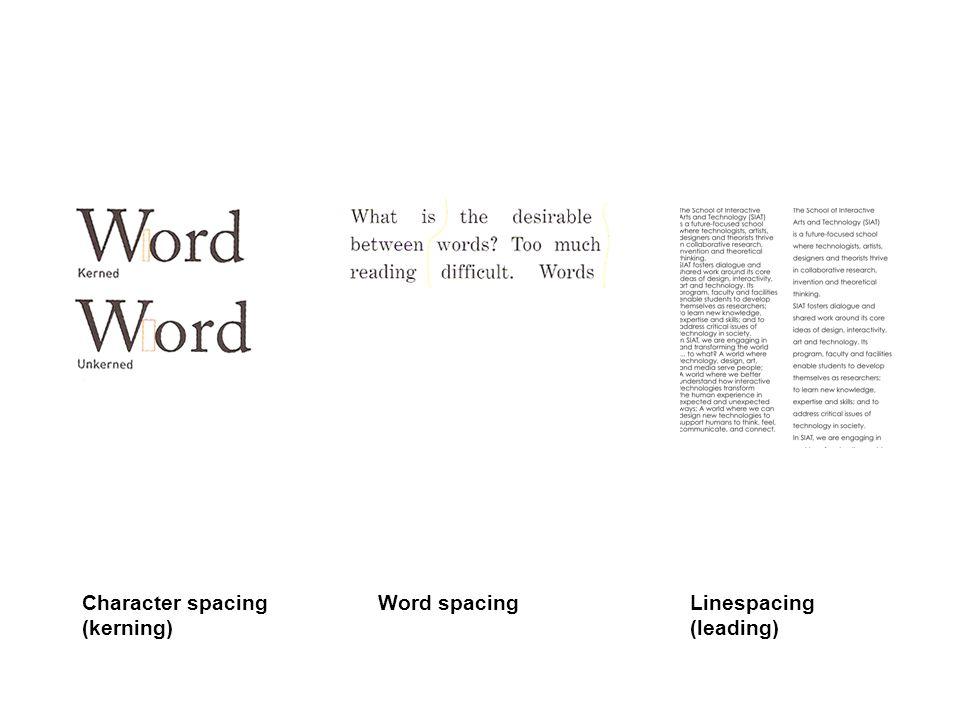 Word spacingCharacter spacing (kerning) Linespacing (leading)