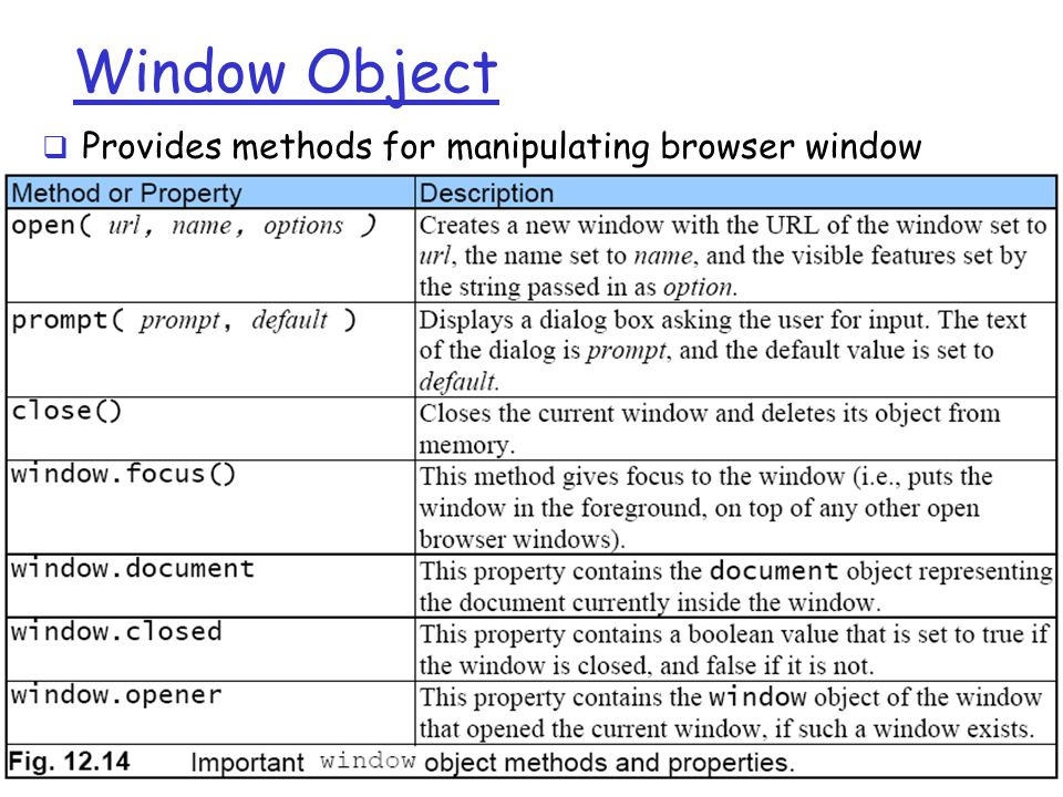 JS1-18 Window Object  Provides methods for manipulating browser window
