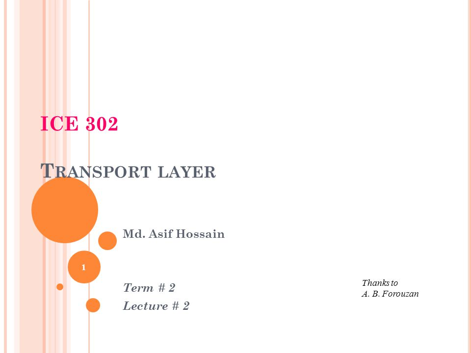 ICE 302 T RANSPORT LAYER 1 Thanks to A. B. Forouzan Md. Asif Hossain Term # 2 Lecture # 2