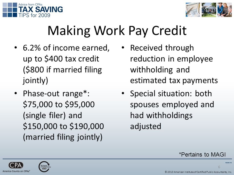 Making Work Pay Credit 6.2% of income earned, up to $400 tax credit ($800 if married filing jointly) Phase-out range*: $75,000 to $95,000 (single filer) and $150,000 to $190,000 (married filing jointly) Received through reduction in employee withholding and estimated tax payments Special situation: both spouses employed and had withholdings adjusted 6 *Pertains to MAGI © 2010 American Institute of Certified Public Accountants, Inc.