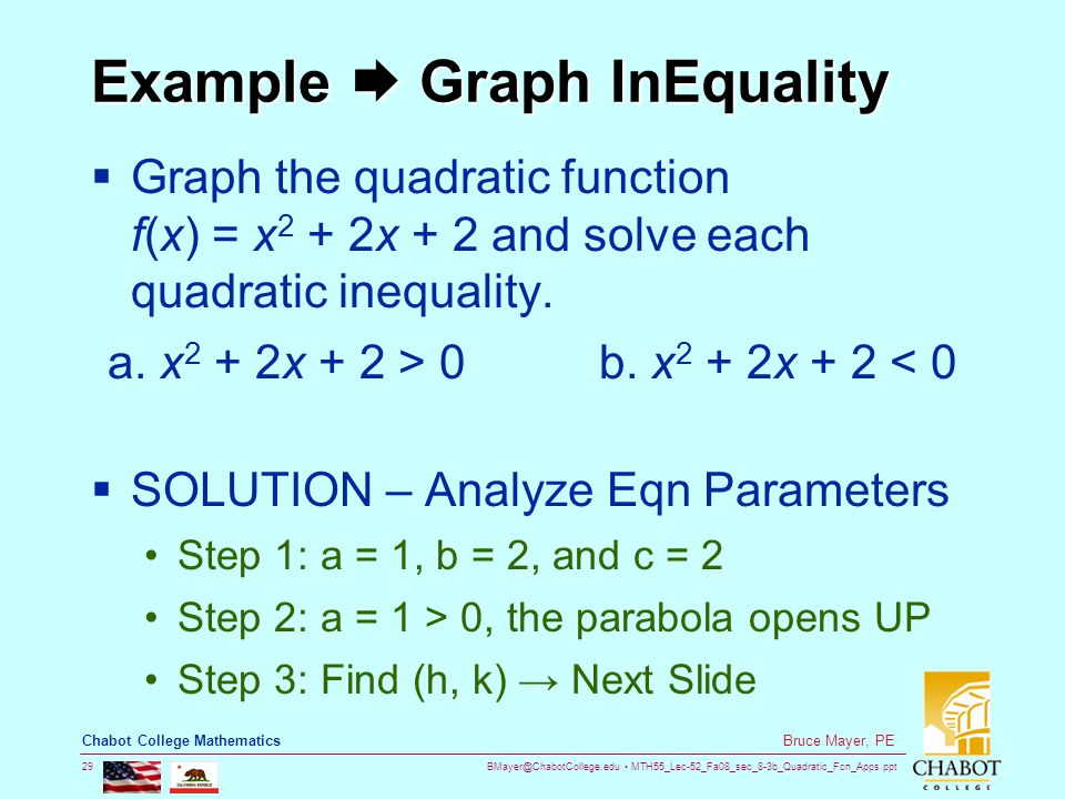 BMayer@ChabotCollege.edu MTH55_Lec-52_Fa08_sec_8-3b_Quadratic_Fcn_Apps.ppt 29 Bruce Mayer, PE Chabot College Mathematics Example  Graph InEquality  Graph the quadratic function f(x) = x 2 + 2x + 2 and solve each quadratic inequality.