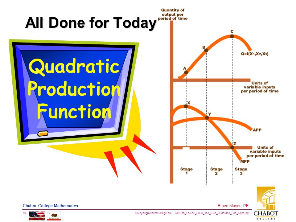 BMayer@ChabotCollege.edu MTH55_Lec-52_Fa08_sec_8-3b_Quadratic_Fcn_Apps.ppt 40 Bruce Mayer, PE Chabot College Mathematics All Done for Today Quadratic Production Function