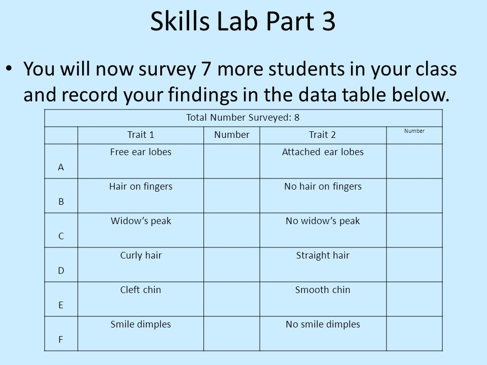 Skills Lab Part 3 You will now survey 7 more students in your class and record your findings in the data table below.