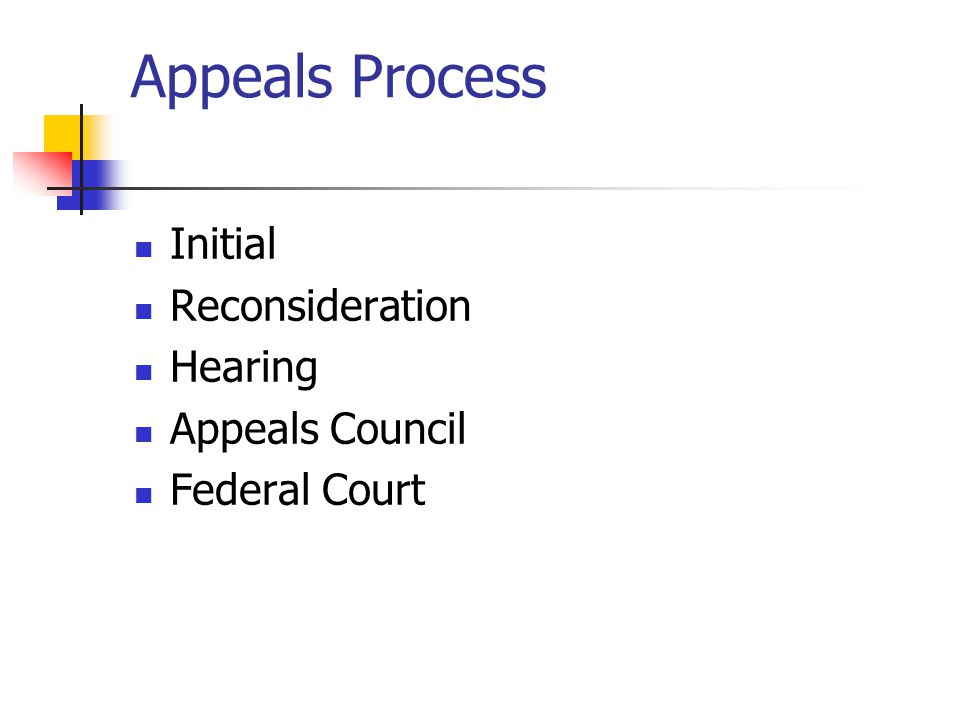 Appeals Process Initial Reconsideration Hearing Appeals Council Federal Court