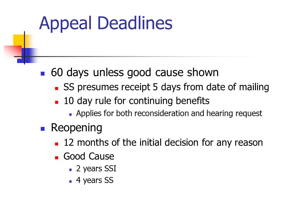Appeal Deadlines 60 days unless good cause shown SS presumes receipt 5 days from date of mailing 10 day rule for continuing benefits Applies for both reconsideration and hearing request Reopening 12 months of the initial decision for any reason Good Cause 2 years SSI 4 years SS