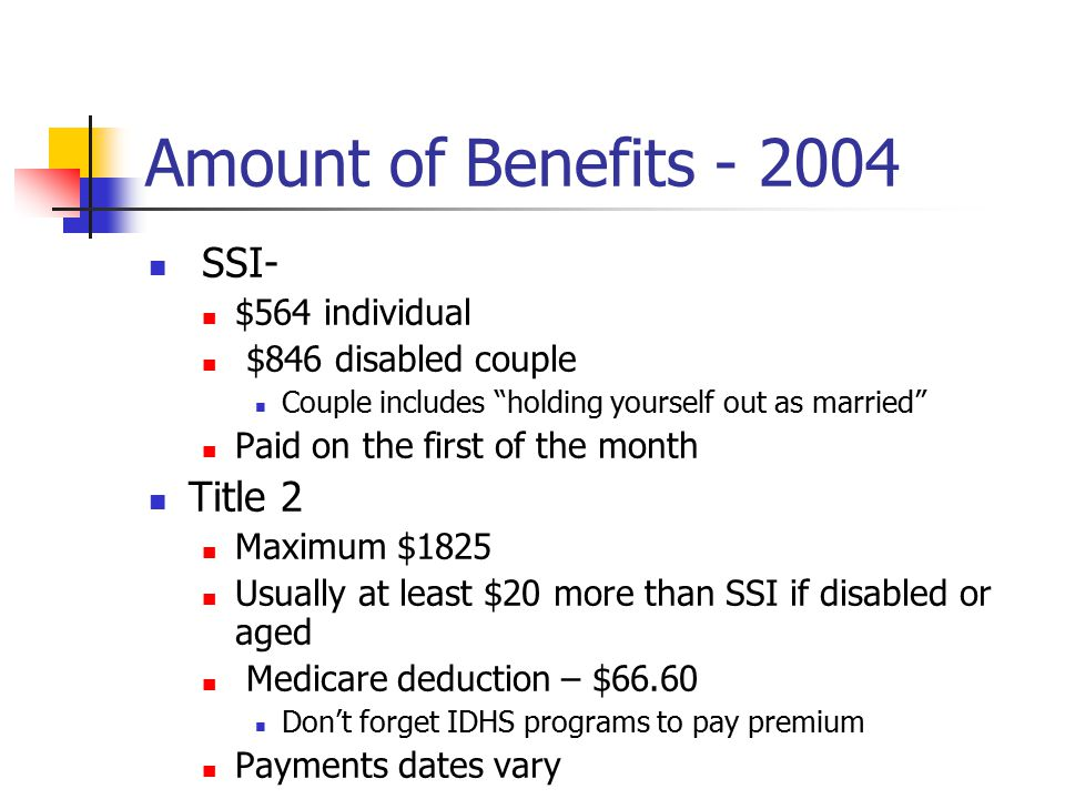 Amount of Benefits - 2004 SSI- $564 individual $846 disabled couple Couple includes holding yourself out as married Paid on the first of the month Title 2 Maximum $1825 Usually at least $20 more than SSI if disabled or aged Medicare deduction – $66.60 Don't forget IDHS programs to pay premium Payments dates vary